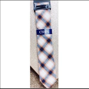 NEW Chaps orange plaid tie